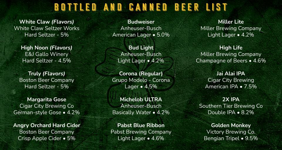 Traveling Bar Orlando Bottle and Can Beer list